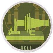 Science Posters - Alexander Graham Bell - Inventor, Engineer Round Beach Towel