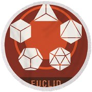 Science Posters - Euclid - Mathematician Round Beach Towel