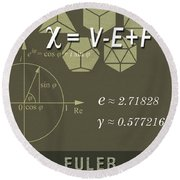 Science Posters - Leonhard Euler - Mathematician, Physicist, Engineer Round Beach Towel