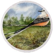 Scissor-tail Flycatcher Round Beach Towel