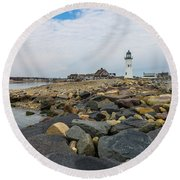 Scituate Lighthouse And Cedar Point Round Beach Towel
