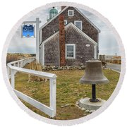 Scituate Lighthouse And Us Lighthouse Service Bell Round Beach Towel