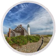 Scituate Lighthouse Boardwalk Round Beach Towel