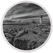 Scituate Lighthouse From The End Of The Jetty Round Beach Towel