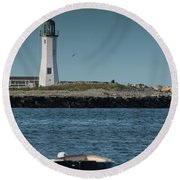 Scituate Lighthouse Round Beach Towel