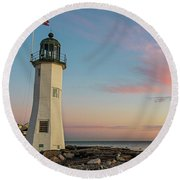 Scituate Lighthouse Scituate Massachusetts South Shore At Sunrise Round Beach Towel