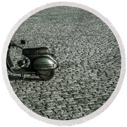 Scooter On Cobblestones Round Beach Towel by Lana Enderle