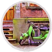 Round Beach Towel featuring the painting Scooter Parking Only by Edward Fielding
