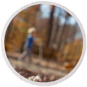 Round Beach Towel featuring the photograph Scootering At The Park by Greg Collins