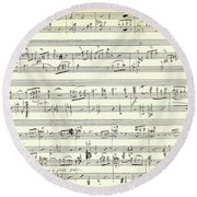Score For The Opening Of Swan Lake By Tchaikovsky Round Beach Towel