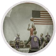 Round Beach Towel featuring the photograph Scoring In The Lane by Ronald Santini