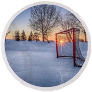 Round Beach Towel featuring the photograph Scoring The Sunset 3 by Darcy Michaelchuk