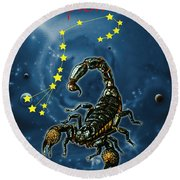 Scorpius And The Stars Round Beach Towel