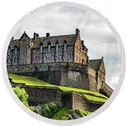Scotland's Edinburgh Castle Round Beach Towel