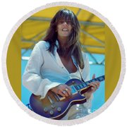 Scott Gorham Of Thin Lizzy Black Rose Tour At Day On The Green 4th Of July 1979 - 1st Color Release Round Beach Towel