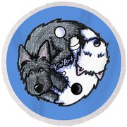 Scottie Westie Yin Yang Round Beach Towel