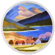 Round Beach Towel featuring the painting Scottish Highlands 2 by Magdalena Frohnsdorff