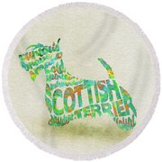 Round Beach Towel featuring the painting Scottish Terrier Dog Watercolor Painting / Typographic Art by Ayse and Deniz