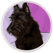 Scottish Terrier Round Beach Towel by George Pedro