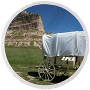 Scotts Bluff National Monument Nebraska Round Beach Towel