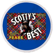 Round Beach Towel featuring the painting Scotty's Best Washington State Pears by Peter Gumaer Ogden