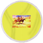 Scouting On The Plains Round Beach Towel