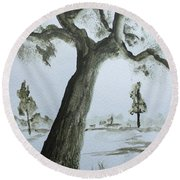 Round Beach Towel featuring the painting Scraggly Old Tree by Jack G Brauer