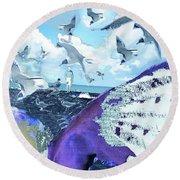 Scream Of The Gulls Round Beach Towel by Seth Weaver