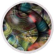 Screaming Spirals Round Beach Towel by Yul Olaivar
