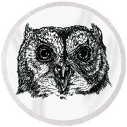 Screech Owl Portrait In Ink Round Beach Towel