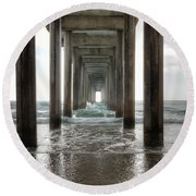 Scripps Pier Round Beach Towel by Eddie Yerkish