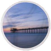 Scripps Pier Silhouette  Round Beach Towel