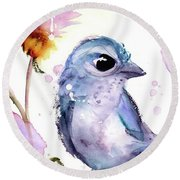 Round Beach Towel featuring the painting Scrub Jay In The Wildflowers by Dawn Derman