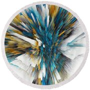 Round Beach Towel featuring the painting Sculptural Series Digital Painting 08.072311ex490l by Kris Haas