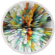 Round Beach Towel featuring the digital art Sculptural Series Painting23.102011windblastsccvsext4100l by Kris Haas