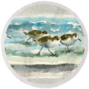 Scurrying Along The Shoreline 2  1-6-16 Round Beach Towel