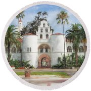 Round Beach Towel featuring the digital art Sdsu Drawing by Nancy Ingersoll