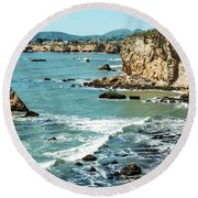 Sea And Cliffs Round Beach Towel