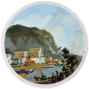 Sea And Mountain With Boats Round Beach Towel