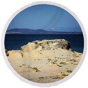 Sea And Rocks Round Beach Towel