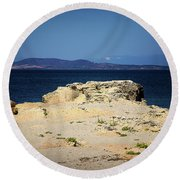 Round Beach Towel featuring the photograph Sea And Rocks by Milena Ilieva