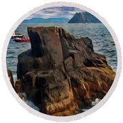 Round Beach Towel featuring the painting Sea And Stone by Jeff Kolker