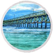 Sea Blue Cherry Grove Pier Round Beach Towel