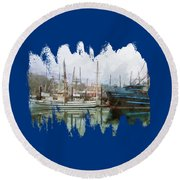 Round Beach Towel featuring the photograph Sea Breeze And Lady Law by Thom Zehrfeld