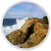 Round Beach Towel featuring the photograph Sea Cave Big Sur by Floyd Snyder