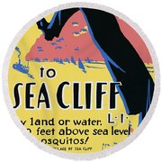Sea Cliff Long Island Poster 1939 Round Beach Towel