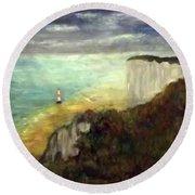 Sea, Cliffs, Beach And Lighthouse Round Beach Towel