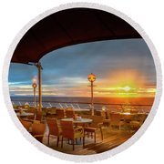 Round Beach Towel featuring the photograph Sea Cruise Sunrise by John Poon