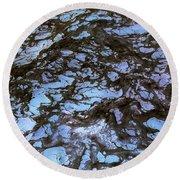 Sea Foam Black And Blue Round Beach Towel