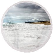 Round Beach Towel featuring the photograph Sea Foam And Clouds By Kaye Menner by Kaye Menner